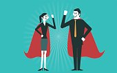 Businessman and business woman are superheroes.