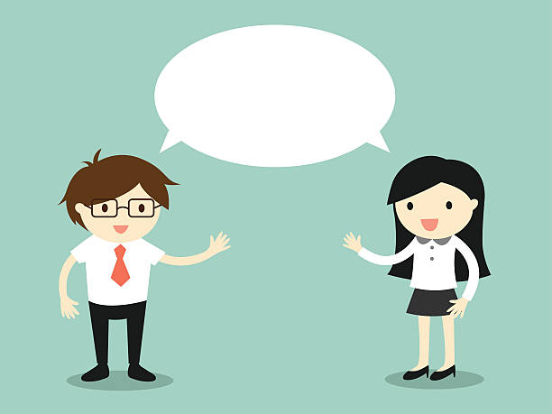 businessman and business woman talking the same idea/concept. - two people talking stock illustrations, clip art, cartoons, & icons
