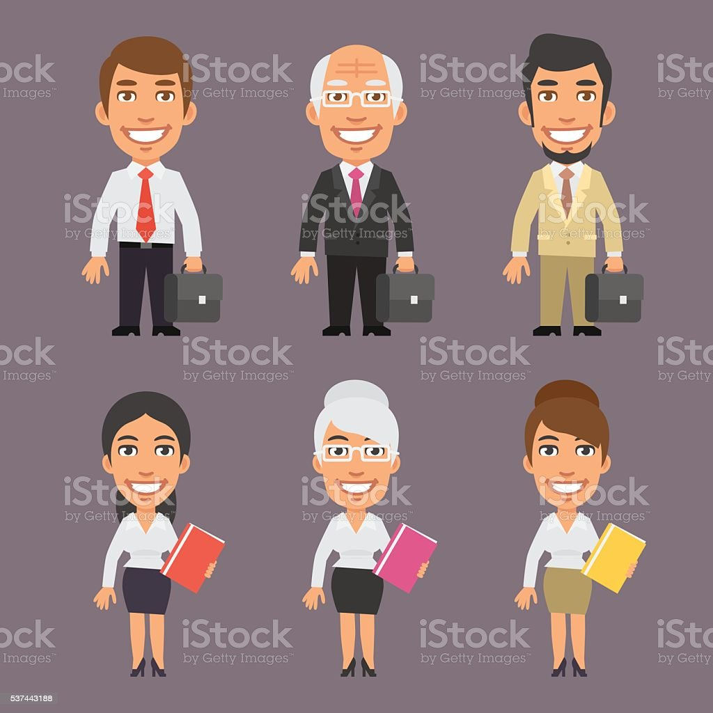 Businessman and Business Woman vector art illustration