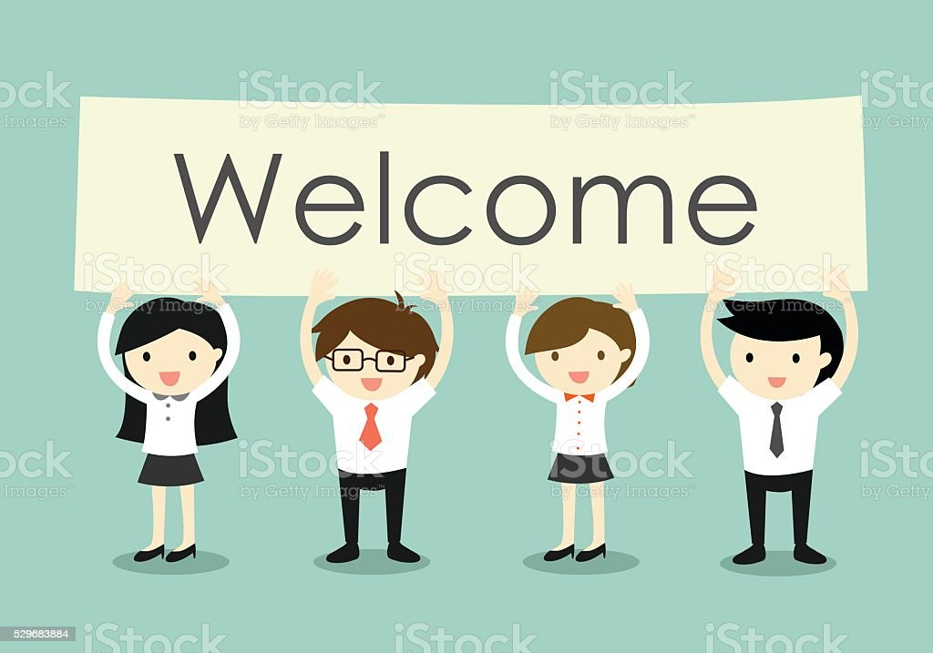 Businessman and business women holding 'Welcome' signboard.