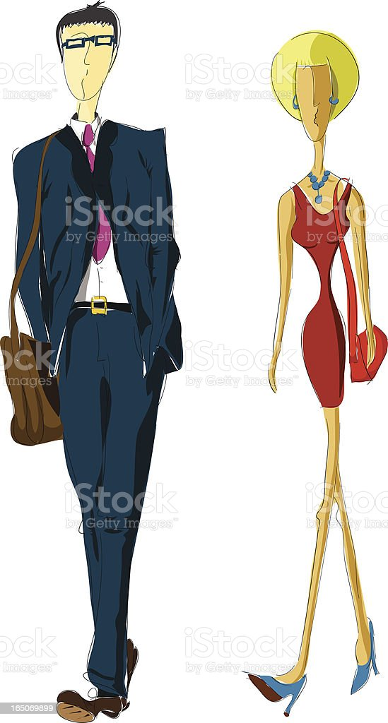 businessman and businesswoman architectural sketch royalty-free stock vector art