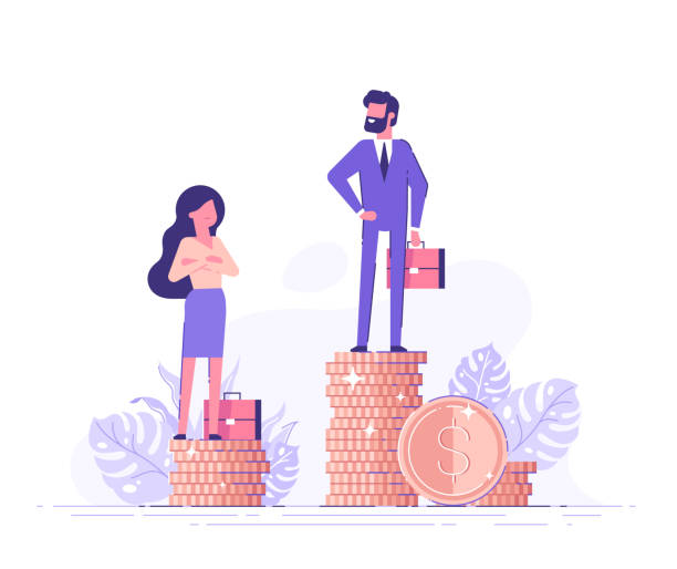 Businessman and businesswoman are standing on stacks of coins representing wages level. Gender gap and inequality in salary. Sexism and discrimination. Vector illustration. Businessman and businesswoman are standing on stacks of coins representing wages level. Gender gap and inequality in salary. Sexism and discrimination. Vector illustration. wages stock illustrations