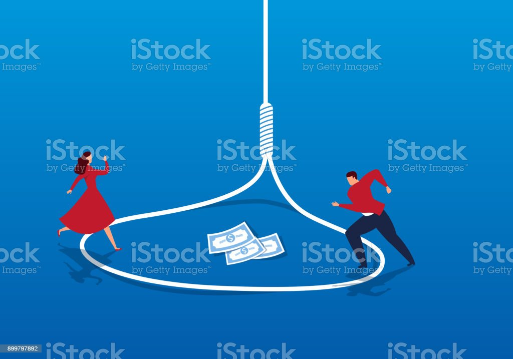 businessman and businesswoman are trapped vector art illustration