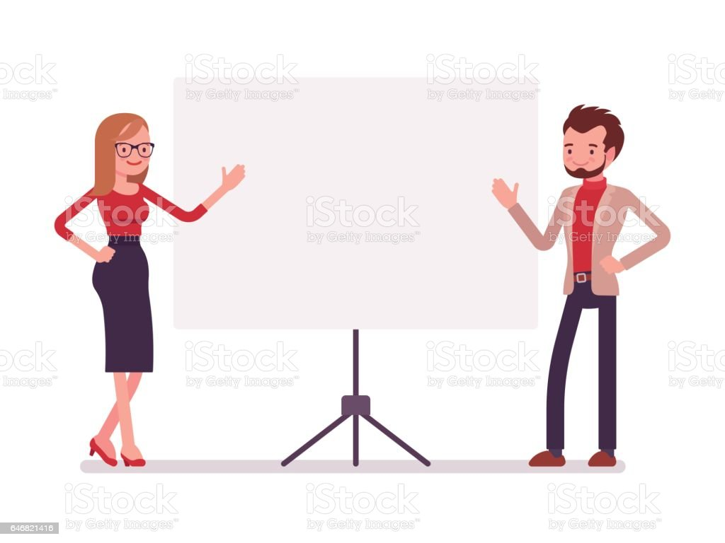 Businessman and businesswoman at the presentation vector art illustration