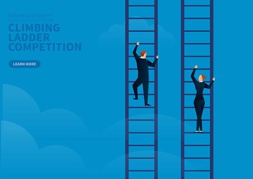businessman and businesswoman contest climbing ladder