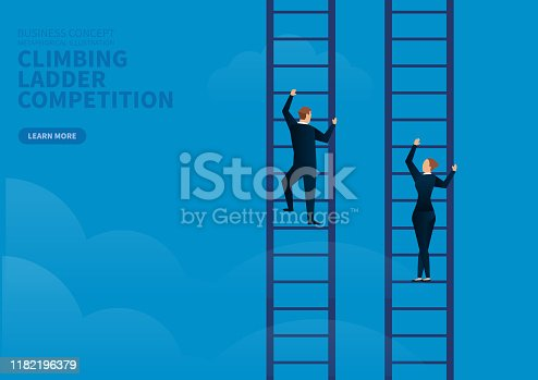 businessman and businesswoman contest climbing ladder