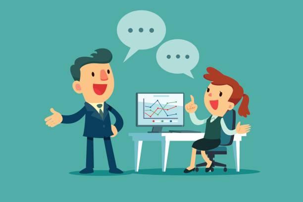 Unternehmer und Unternehmerin diskutieren Geschäftsstrategie – Vektorgrafik