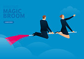 businessman and businesswoman flying on the magic broom to the sky
