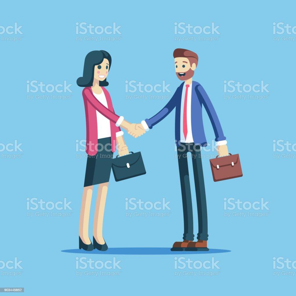 Hombre de negocios y estrechar las manos empresaria - ilustración de arte vectorial