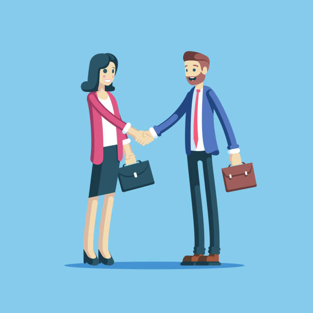Businessman and businesswoman handshake Businessman and businesswoman making a handshake as a sign of cooperation, partnership or agreement. Two employees concluding a successful deal shaking hands vector flat illustration. colleague stock illustrations