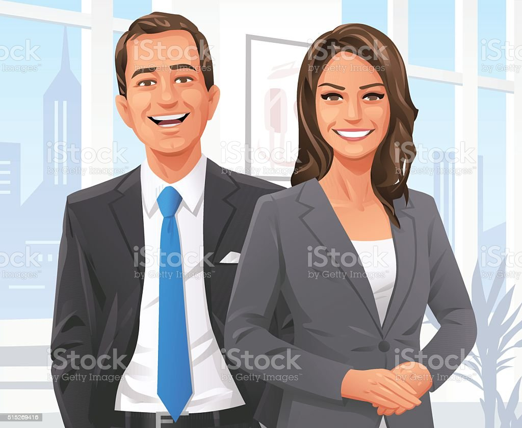 Businessman And Businesswoman In The Office vector art illustration