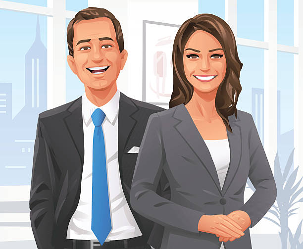 Businessman And Businesswoman In The Office Vector illustration of a smiling and confident businesswoman and businessman in the office, looking at the camera.  looking at camera stock illustrations