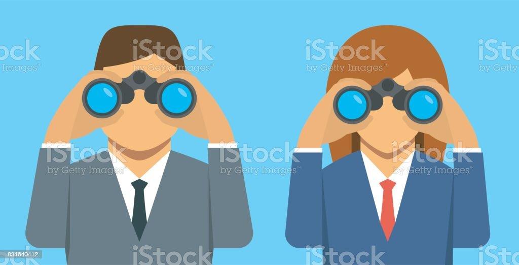 Zakenman en zakenvrouw op zoek door middel van verrekijkers, vectorillustratievectorkunst illustratie