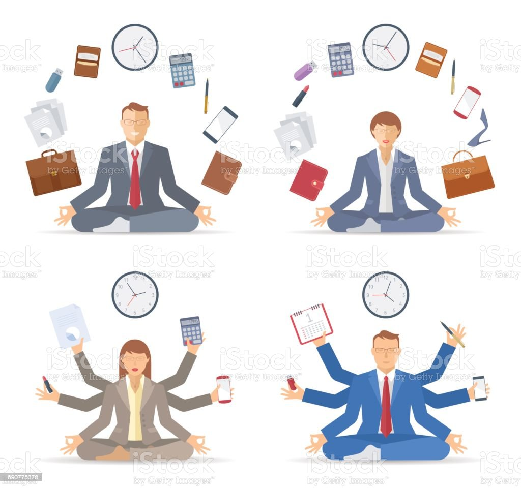 Businessman and businesswoman meditates in the lotus pose. Vector concept vector art illustration