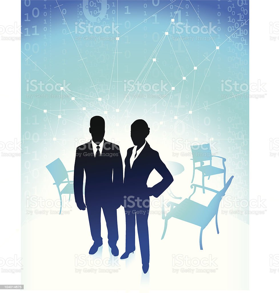 businessman and businesswoman on break with binary code internet background royalty-free stock vector art