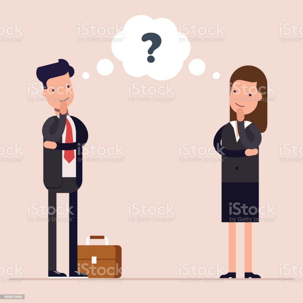 Businessman and businesswoman or managers thinks. Question mark in speech bubble. Concept of the thought process. Flat characte in cartoon style. vector art illustration