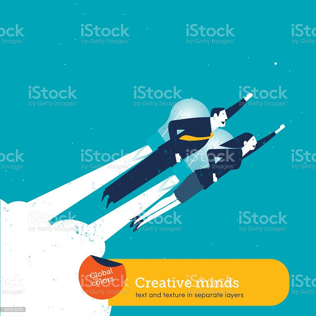 Businessman and businesswoman with a bulb rocket vector art illustration