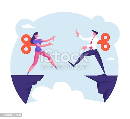 istock Businessman and Businesswoman with Clockwork Mechanism on Back Step into Abyss. Manipulation, Leap of Faith Concept with Business People Walk Off Cliff Searching Path Cartoon Flat Vector Illustration 1180822709