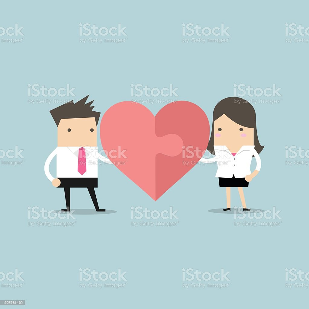 Businessman and businesswoman with heart puzzle. Office love concept vector art illustration