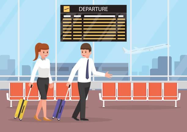 illustrations, cliparts, dessins animés et icônes de homme d'affaires et femme d'affaires avec des bagages à l'aérogare. - terminal aéroportuaire
