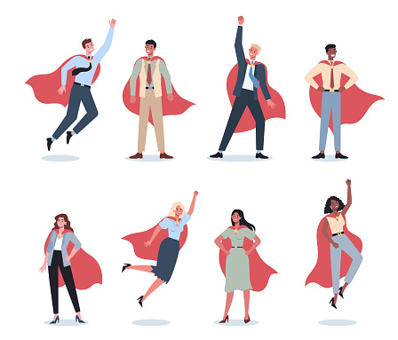 Businessman and businesswoman with red superhero cloak set. Man and woman