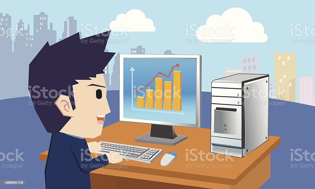 Businessman and computer vector art illustration