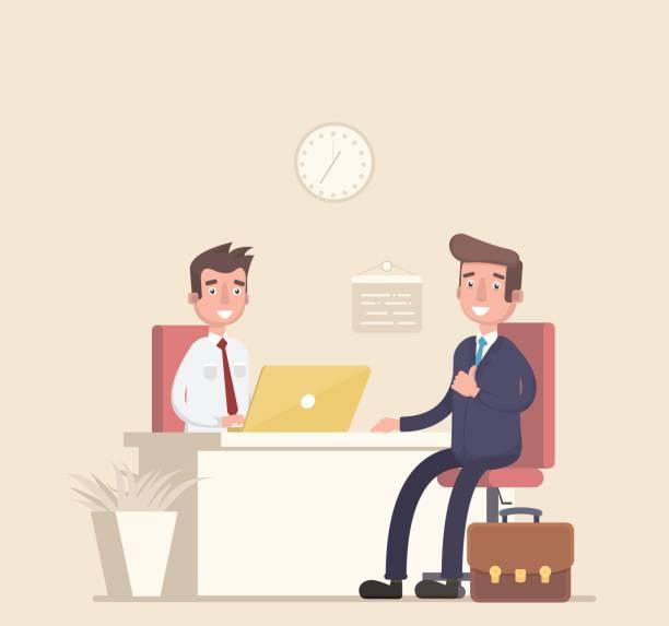 ilustrações, clipart, desenhos animados e ícones de empresário e consultor, sentado a uma mesa, trabalhando juntos, entrevistas, negociações, reuniões. - dia do cliente