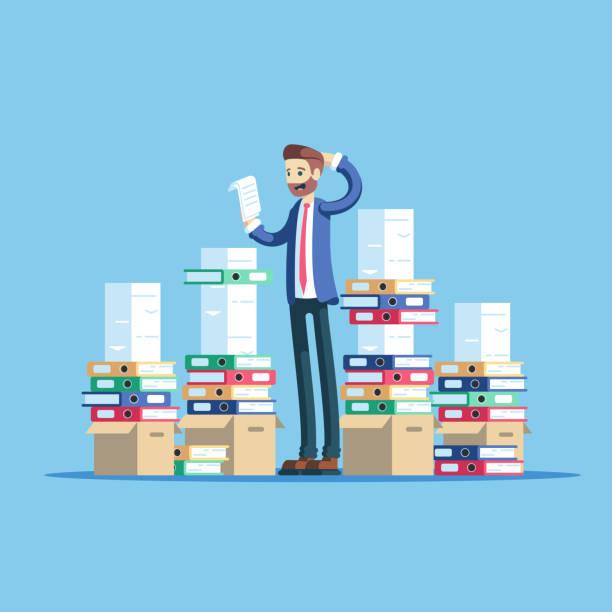 businessman and documents - duża grupa obiektów stock illustrations