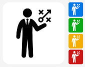 Businessman and Game Plan Icon Flat Graphic Design