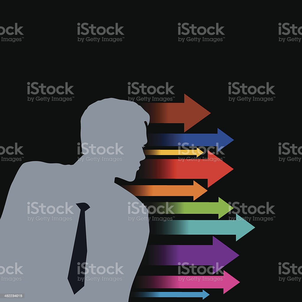 businessman and global business arrow royalty-free stock vector art
