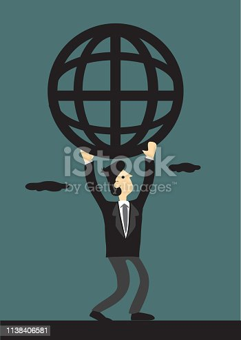 Cartoon businessman carrying a simplified wire mesh like globe symbol representing global network.