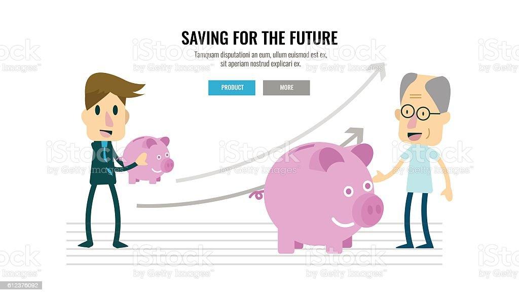 businessman and growing piggybank with timeline. vector art illustration