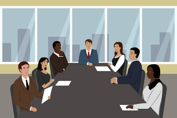 Businessman and his employees seating at meeting table. Vector illustration vector art illustration