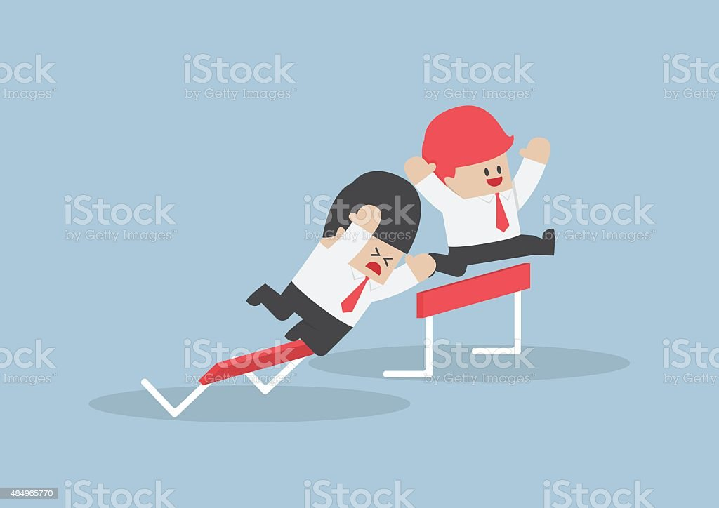 Businessman and his rival in hurdle race vector art illustration