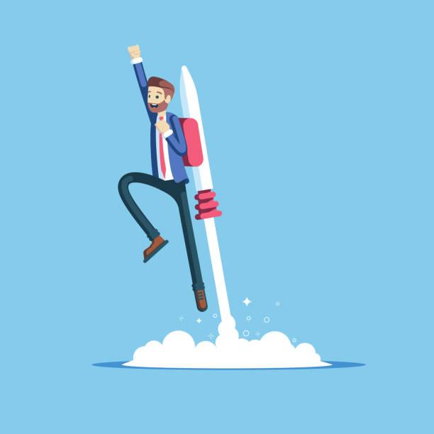 illustrazioni stock, clip art, cartoni animati e icone di tendenza di businessman and jetpack - man evolution