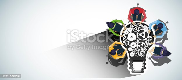 istock Businessman and Lady Brainstorm for Success with Light bulb, cog - modern Idea and concept illustration flat vector. 1221558231
