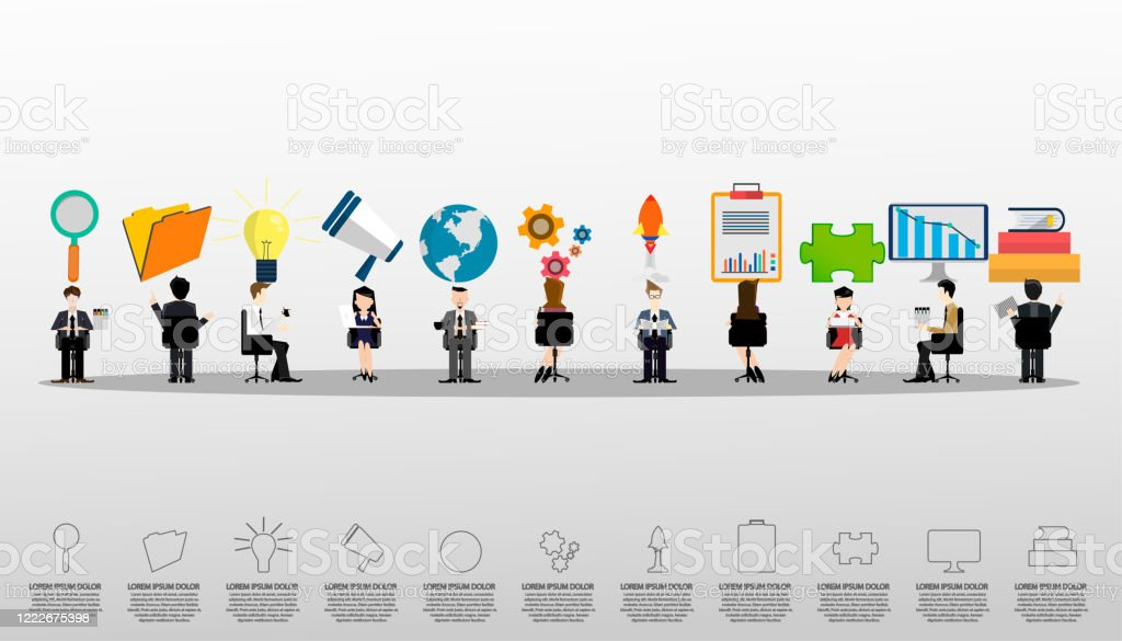 Businessman And Lady Brainstorming With Icon Organization Employee Banner Poster Concept Vector Flat Graphic Design Illustration Stock Illustration Download Image Now Istock
