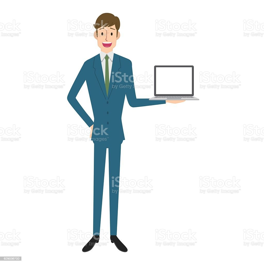 Businessman and laptop vector art illustration