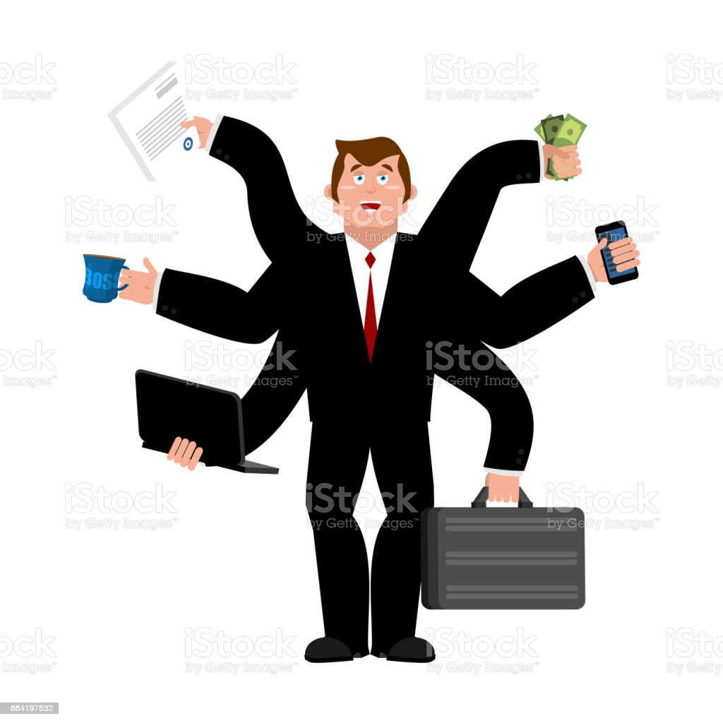 Businessman and lots of hands. Performing many tasks.  Lot of work. Vector illustration royalty-free businessman and lots of hands performing many tasks lot of work vector illustration stock vector art & more images of adult