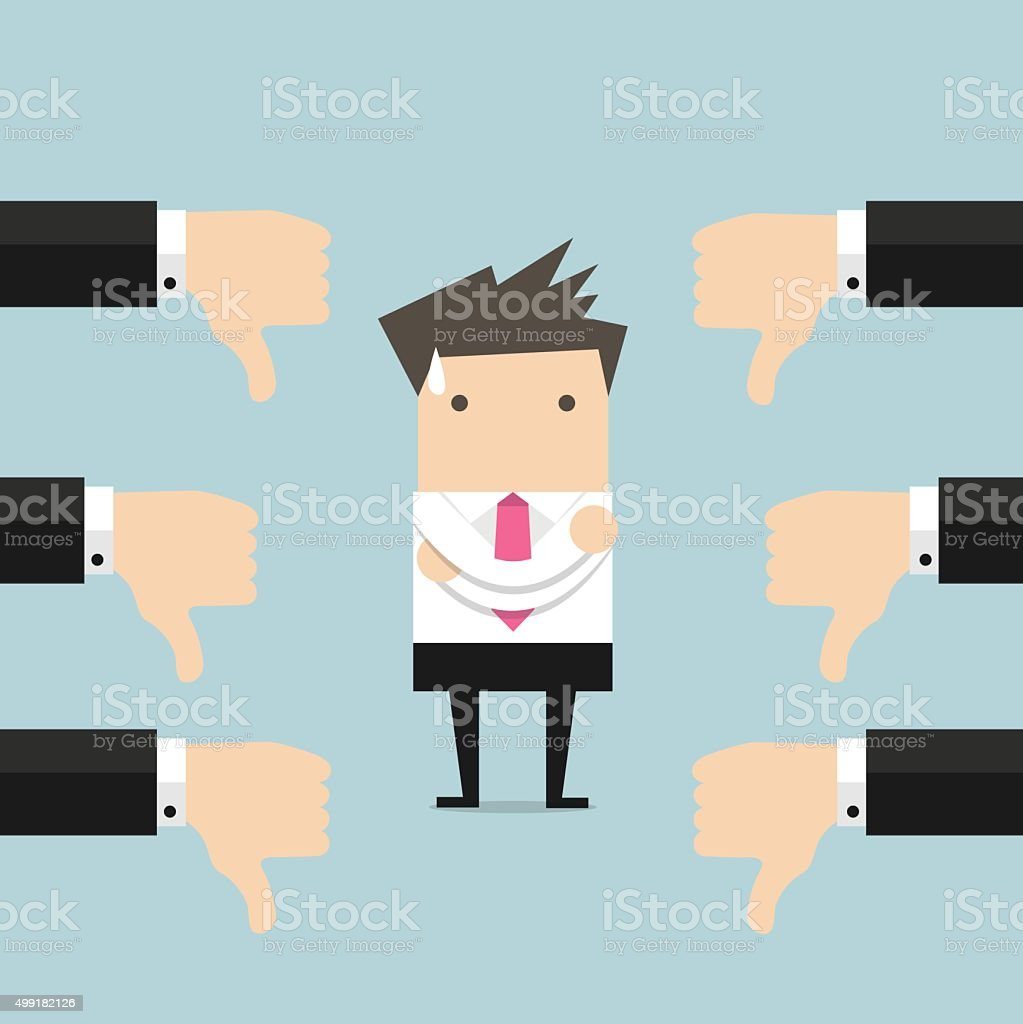 Businessman and many hands with thumbs down vector art illustration