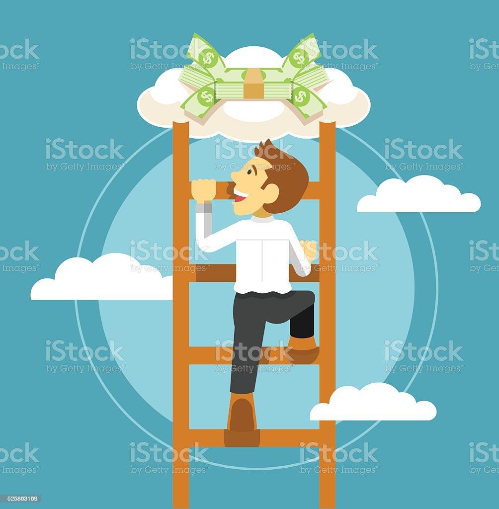 Businessman and money. Vector flat illustration vector art illustration