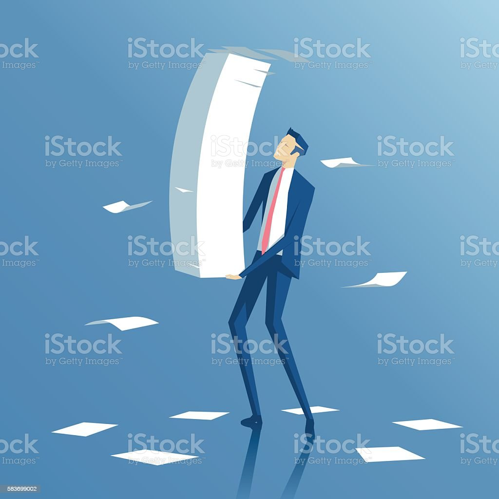 Businessman and paper work vector art illustration