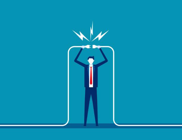 Businessman and plug. Concept business connection vector illustration vector art illustration