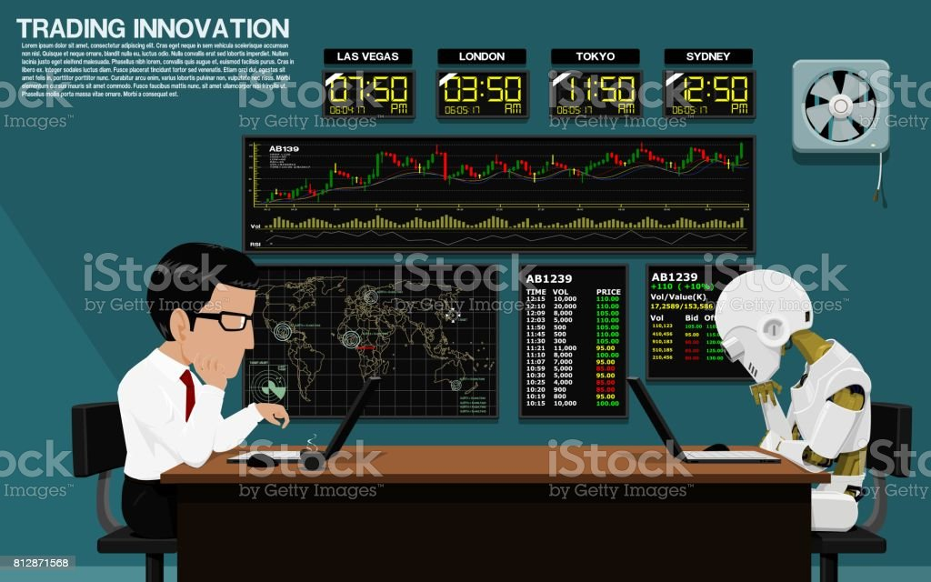Businessman and robot are trading together vector art illustration