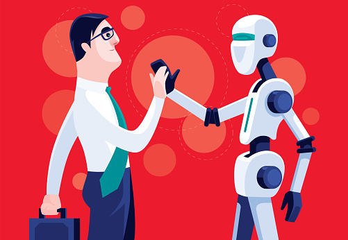 businessman and robot giving high five