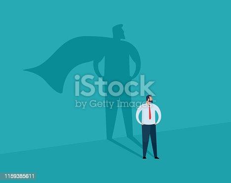 istock Businessman and shadow superhero. 1159385611