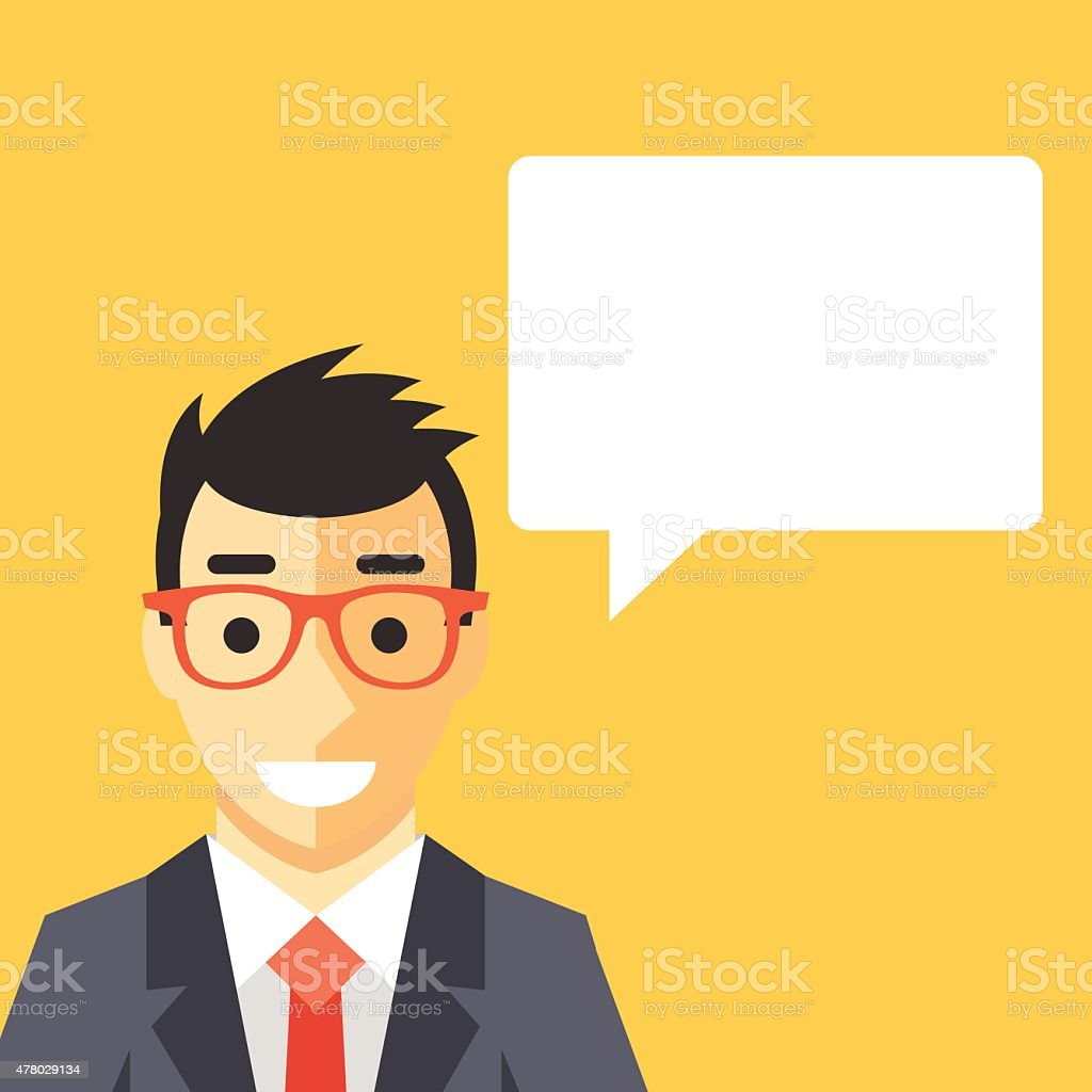 Businessman and speech bubble. vector art illustration
