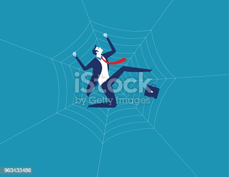 Businessman and spider web. Concept business character vector illustration. Flat design style.