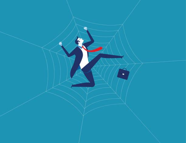 illustrazioni stock, clip art, cartoni animati e icone di tendenza di businessman and spider web. concept business character vector illustration. flat design style. - intrappolato