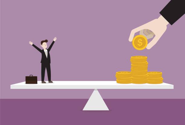 ビジネスマンとレバーにお金のスタック - コストパフォーマンス点のイラスト素材/クリップアート素材/マンガ素材/アイコン素材